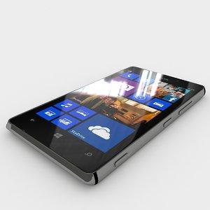 nokia lumia 925 black 3d model
