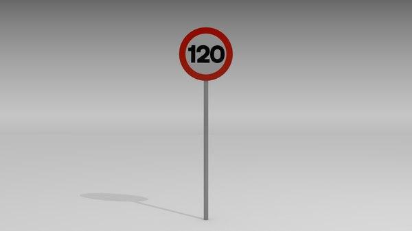 120 speed limit sign obj