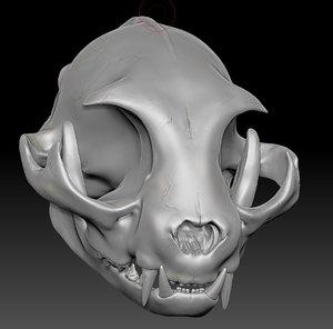 zbrush sculpture cat skull 3d 3ds