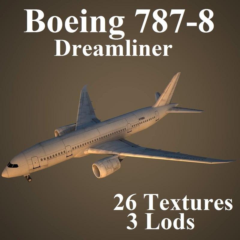 3d boeing 787-8 dreamliner model