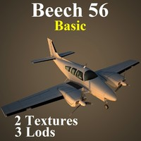 beech 56 basic aircraft 3d model