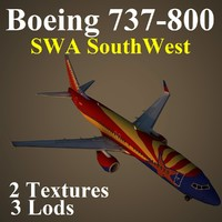 boeing 737-800 swa 3d max