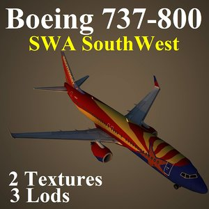 boeing 737-800 swa 3d max