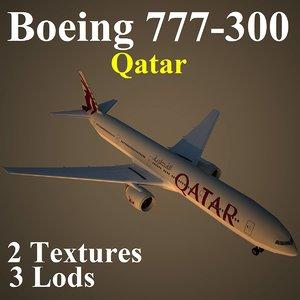 3d model boeing 777-300 qtr
