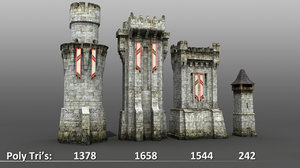 3d medieval castle towers wall model