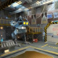 Sci-fi hangar interior scene