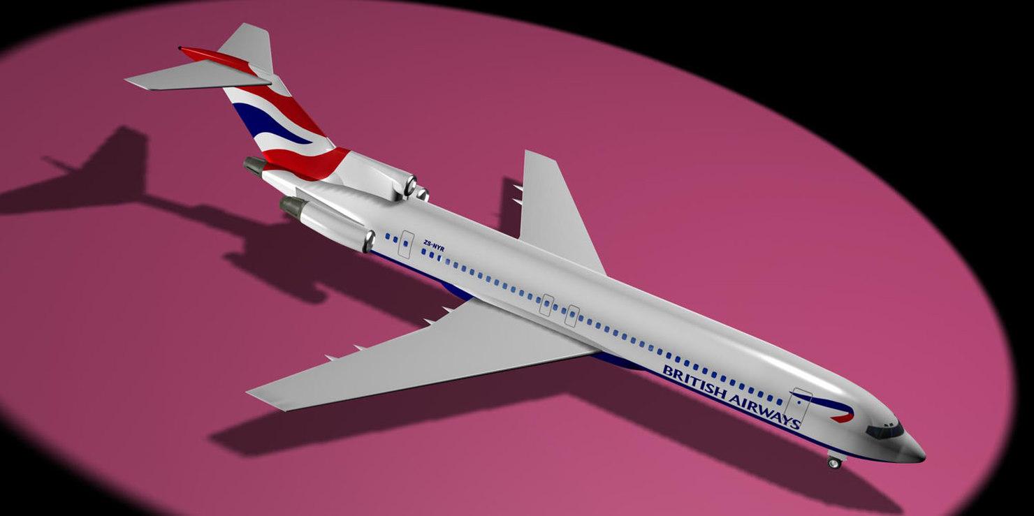 3d british airways comair 727-200