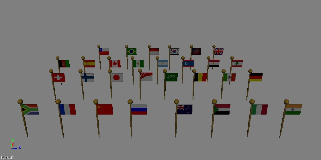 3d model of flags