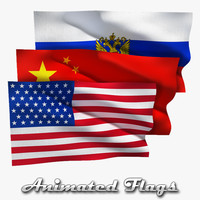 flags russia china 3d model