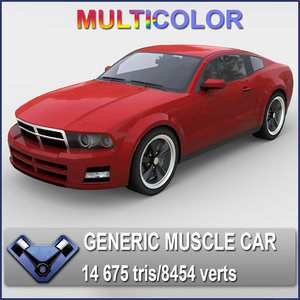 3d model generic muscle car stallion