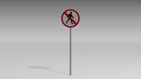 pedestrians sign 3d obj