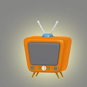 3d model cartoon retro tv