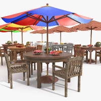 Beach Sun Umbrella Bar Scene