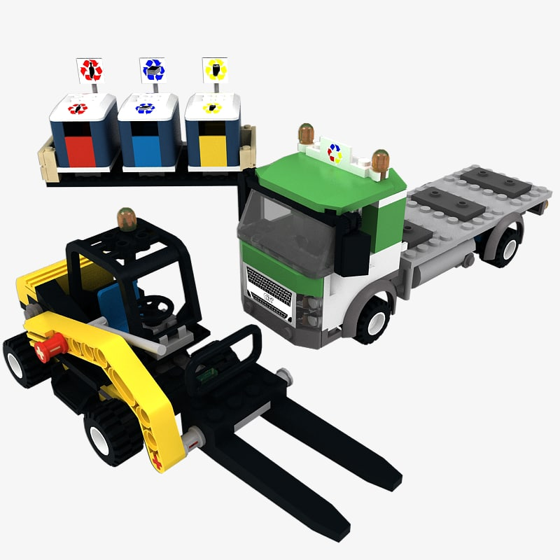 3ds max lego recycling truck