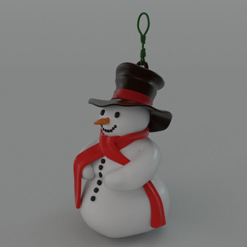 3d snowman decoration christmas model