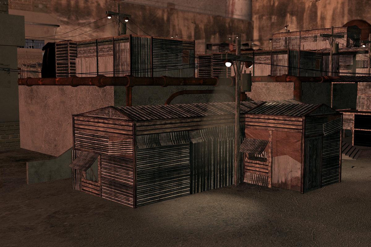 3d slums buildings model