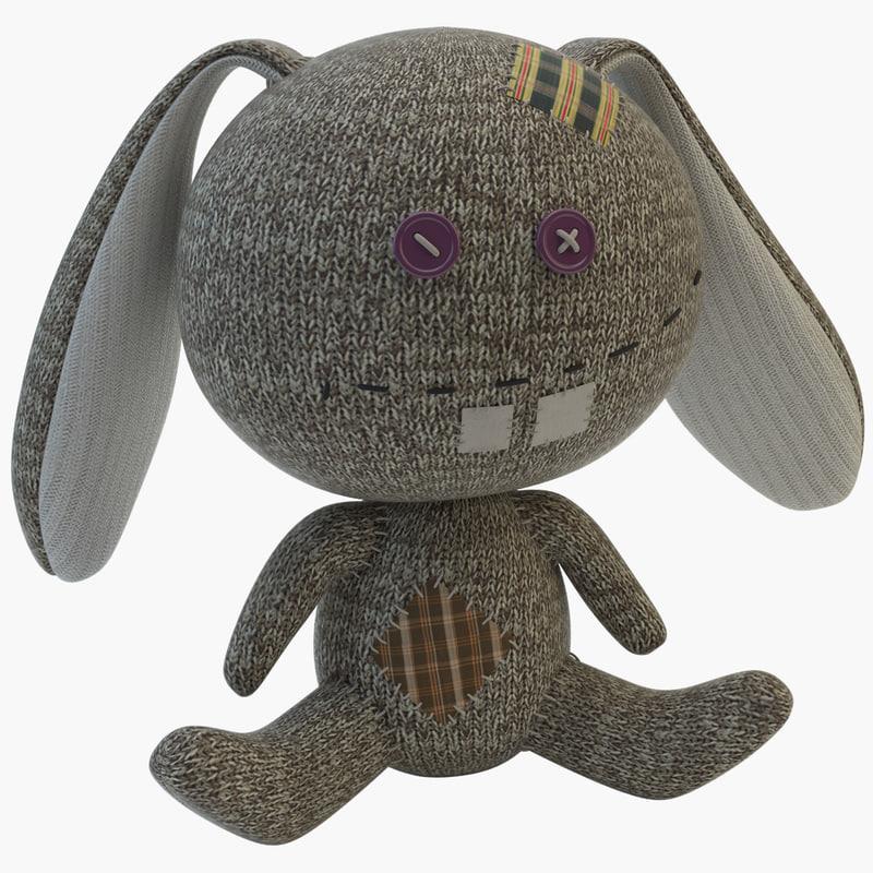 toy sock rabbit 3d model
