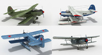 Lowpoly biplane collection