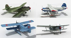 an-2 biplane 3d max