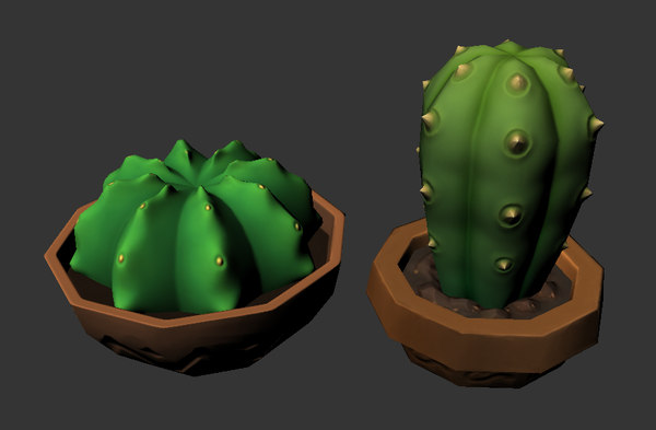 low-poly cactuses ma free
