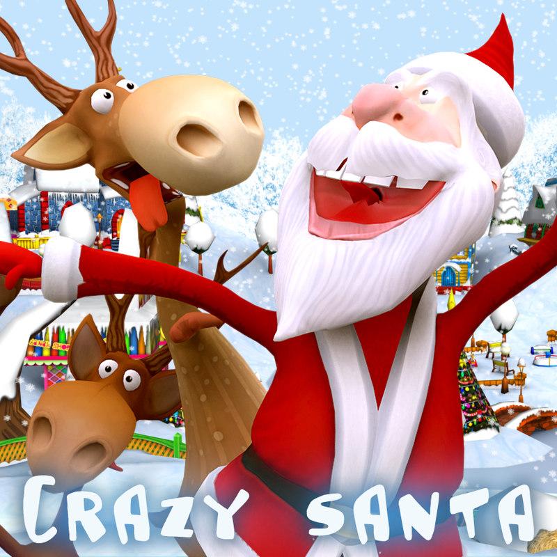 3d model crazy santa reindeers dancing