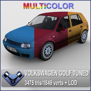 multicolor volkswagen golf iv 3d max