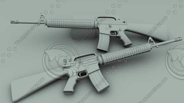 3d m16a2 assault rifle model