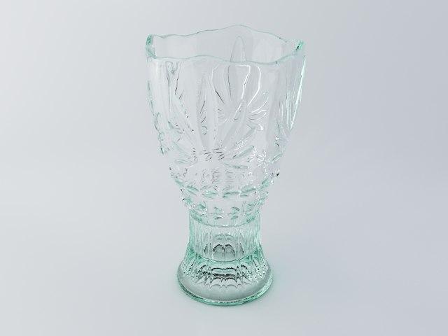 3d glass flower vase