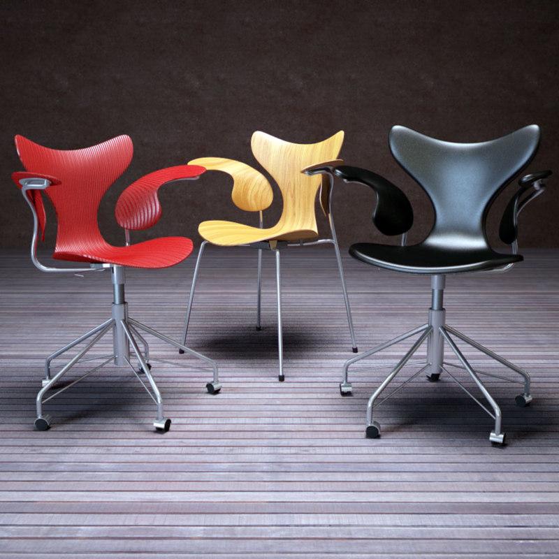 lily swivel chair 3d model