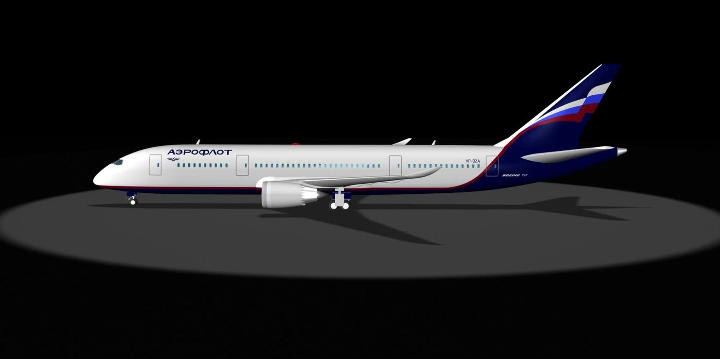 aeroflot 787 dream liner 3d max