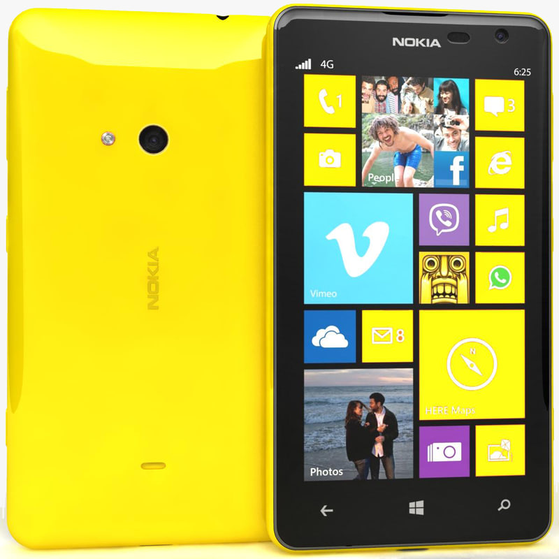 nokia lumia 625 yellow 3d model