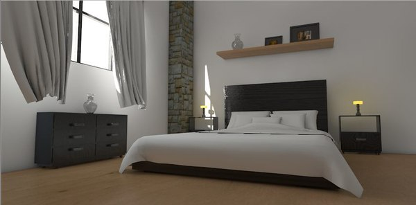 render bedroom scene obj