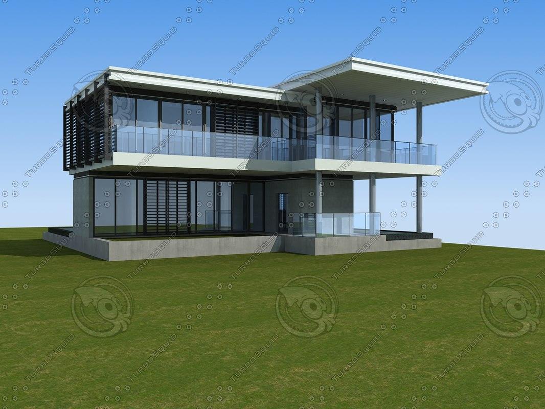 3d beautiful modern architecture model