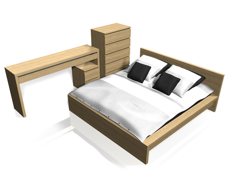 malm bedroom furniture 3d c4d