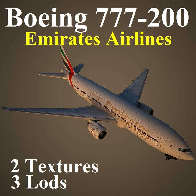 boeing 777-200 emirates airlines 3d max