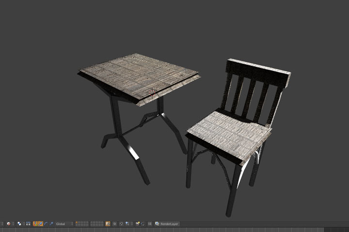 basic chair table 3ds