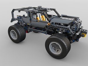 lego technics 8297 rigged 3d model