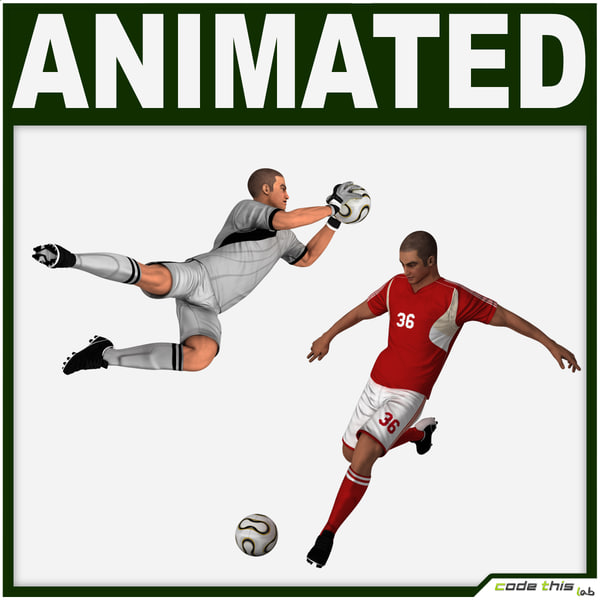 3d team soccer player goalkeeper model