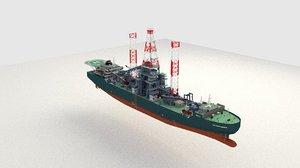 drillship drill ship 3d model