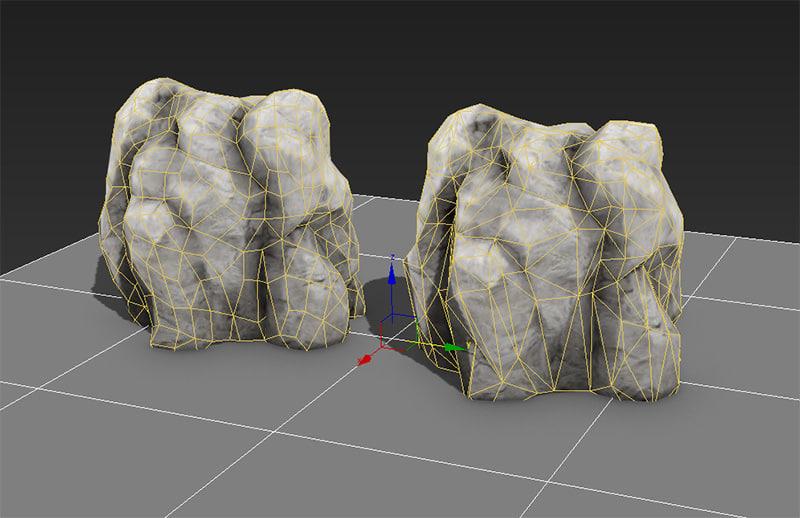 3d of rock lods