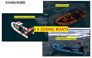 zodiac boat 3d blend