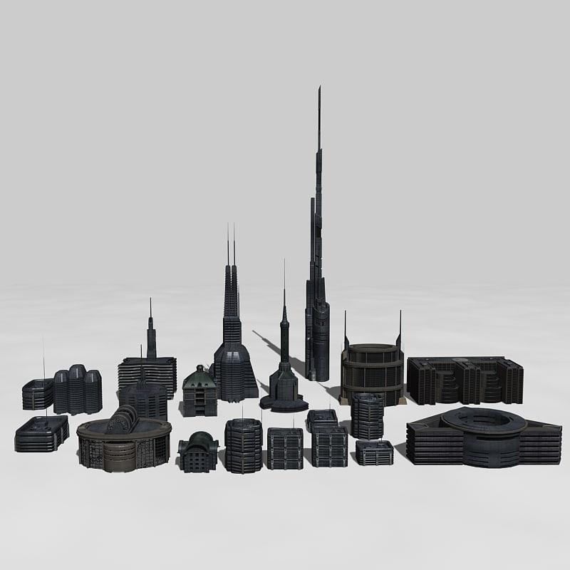 3d set sci-fi buildings