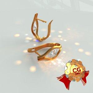 3ds max earrings diamond