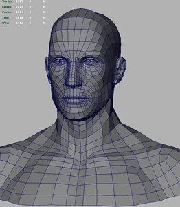 3d model of male bust based