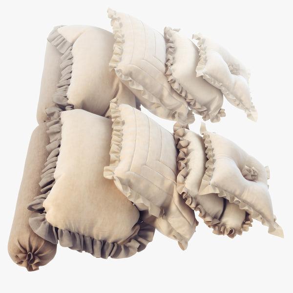 3d classic pillows set model