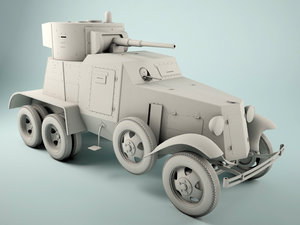 3d model broneavtomobil 3 armored soviet