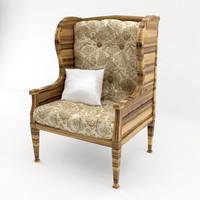 realistic old fancy chair 3d model
