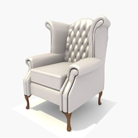 3d seater scroll chair texturing model