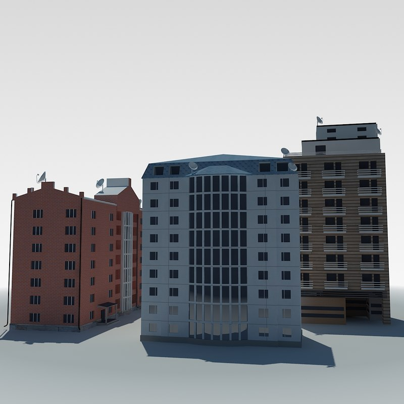3d 3ds low-poly condo building
