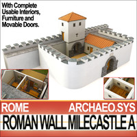ancient roman wall milecastle 3d model